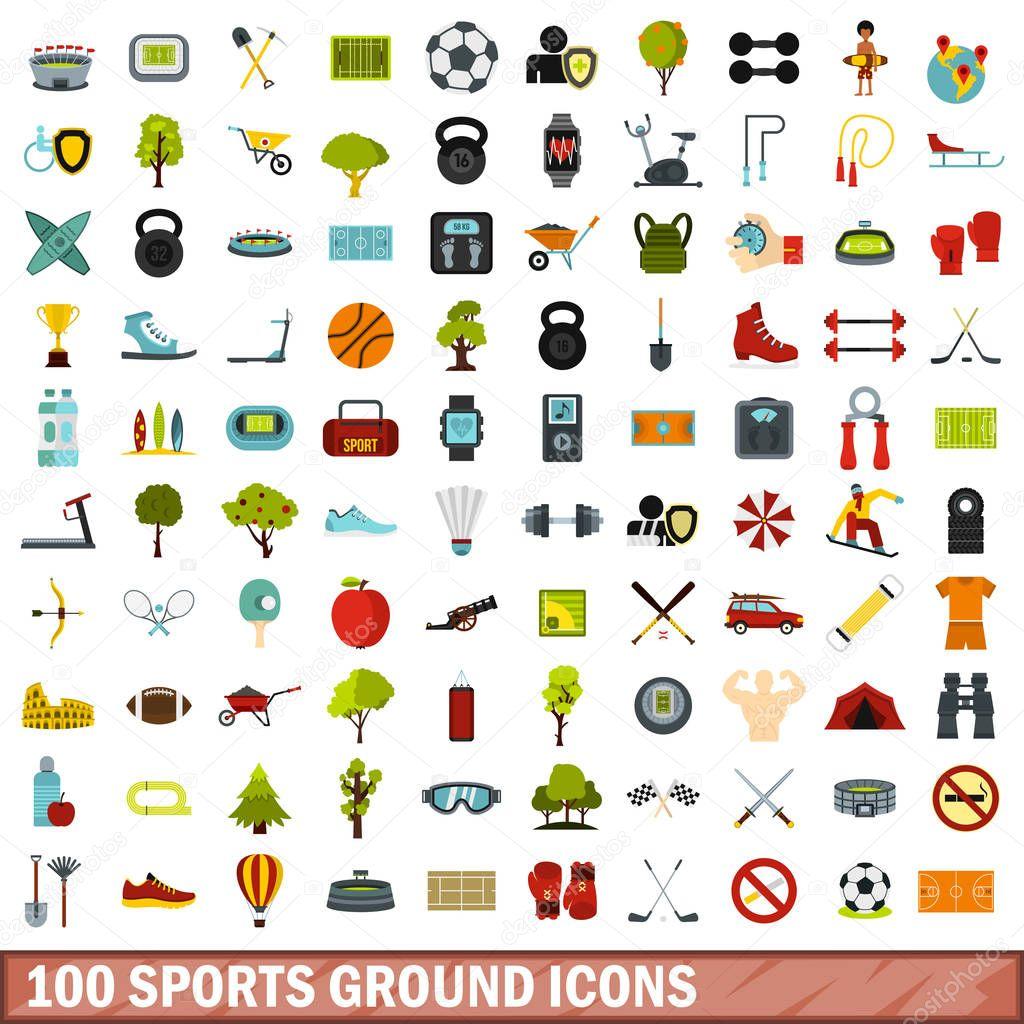 100 sports ground icons set, flat style