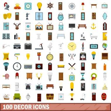 100 decor icons set, flat style