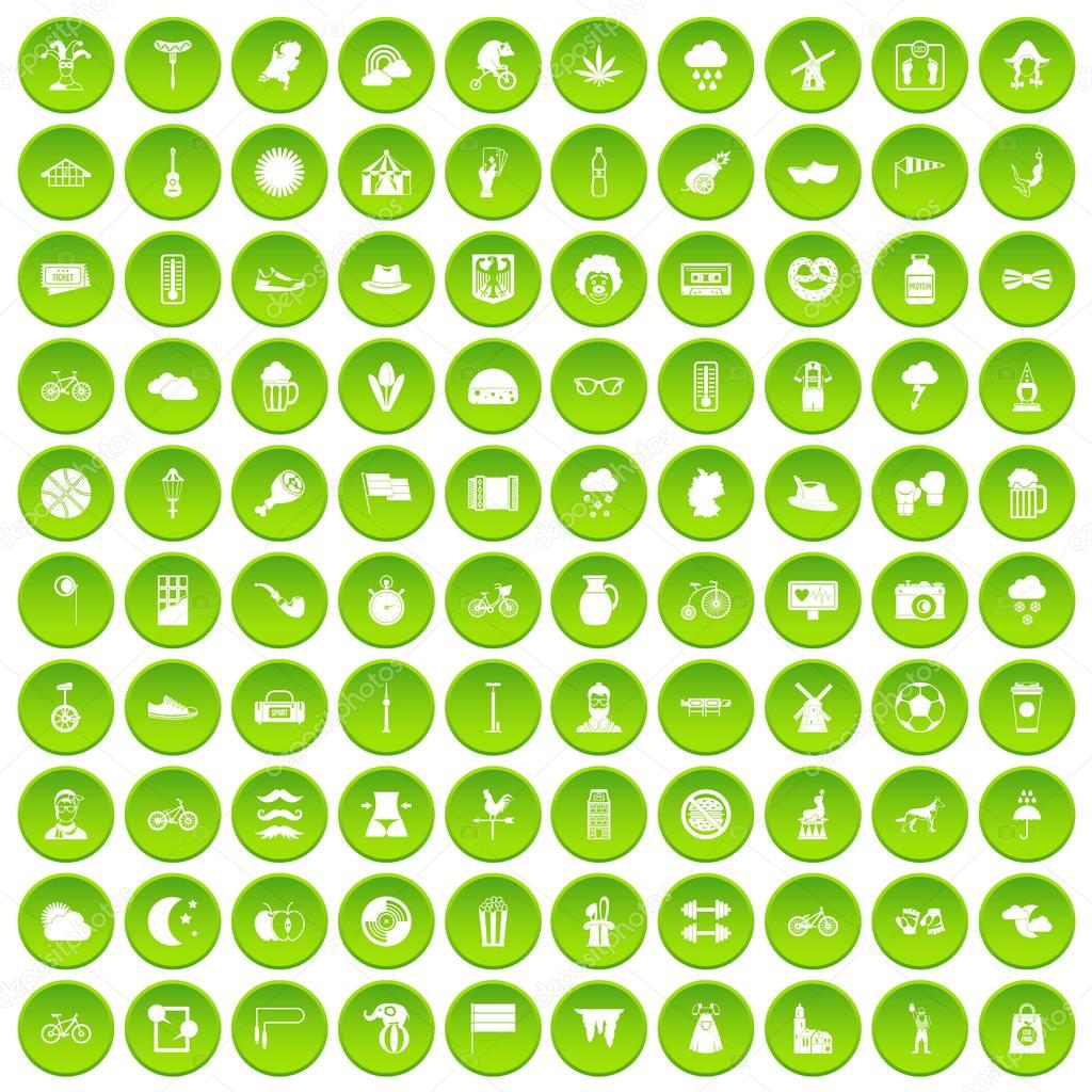 100 bicycle icons set green circle