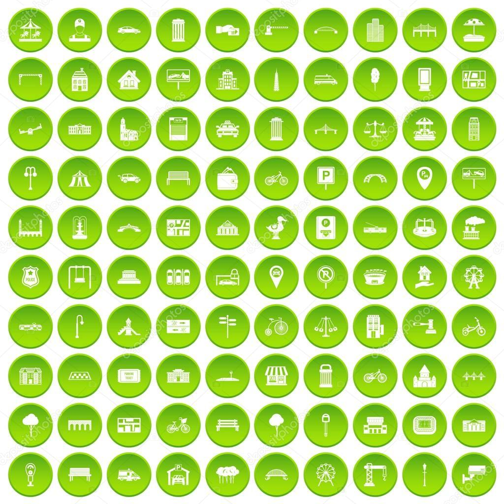100 city icons set green circle