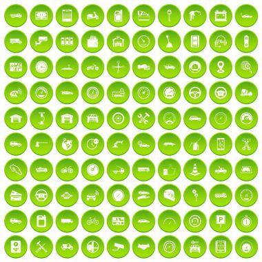 100 garage icons set green circle