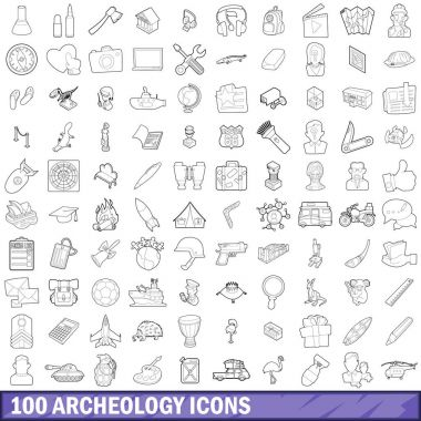 100 archeology icons set, outline style
