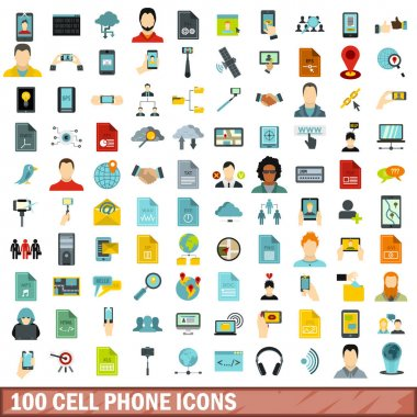 100 cell phone icons set, flat style