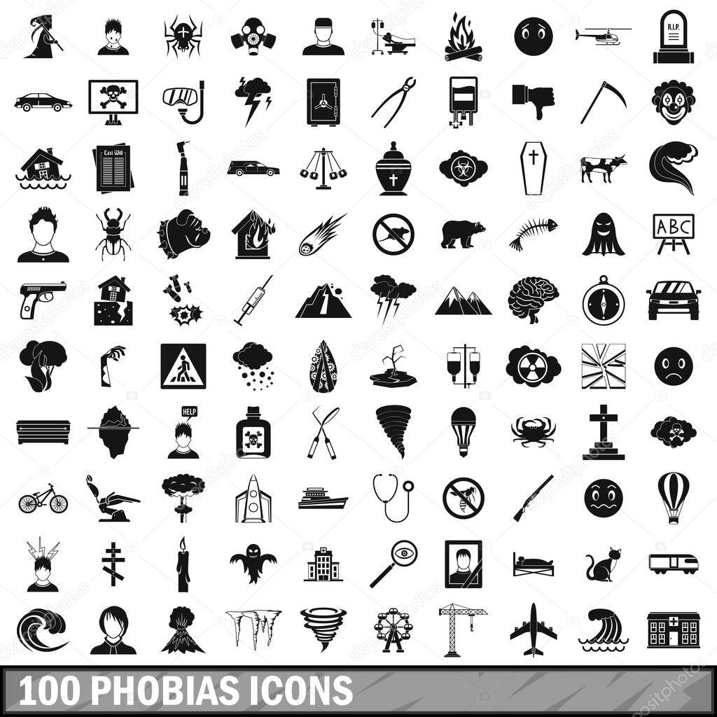 100 phobias icons set, simple style