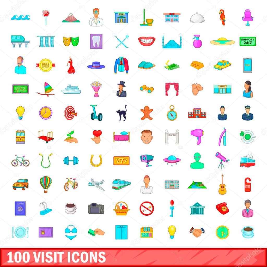 100 visit icons set, cartoon style