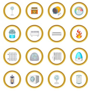 Heating cooling icons circle gold in cartoon style isolate on white background vector illustration clip art vector
