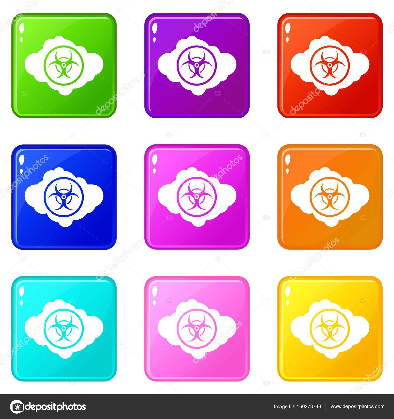Cloud with biohazard symbol icons 9 set stock vector cloud with biohazard symbol icons of 9 color set isolated vector illustration vector by ylivdesign biocorpaavc Images