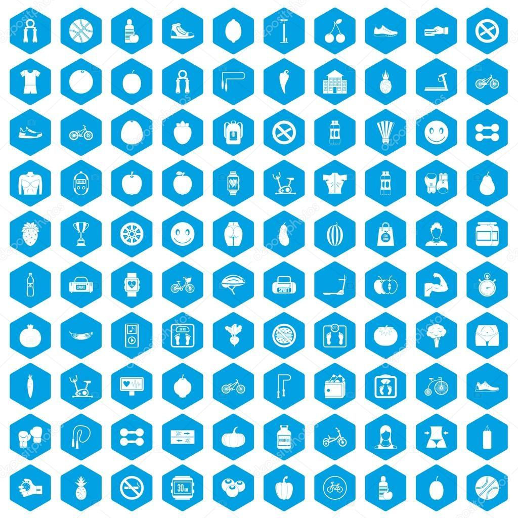 100 fitness icons set blue
