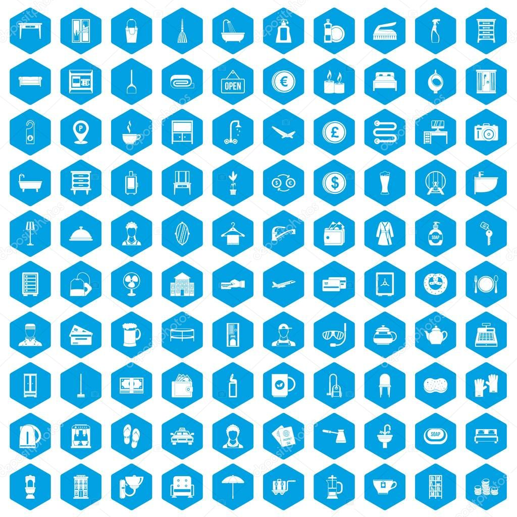100 inn icons set blue