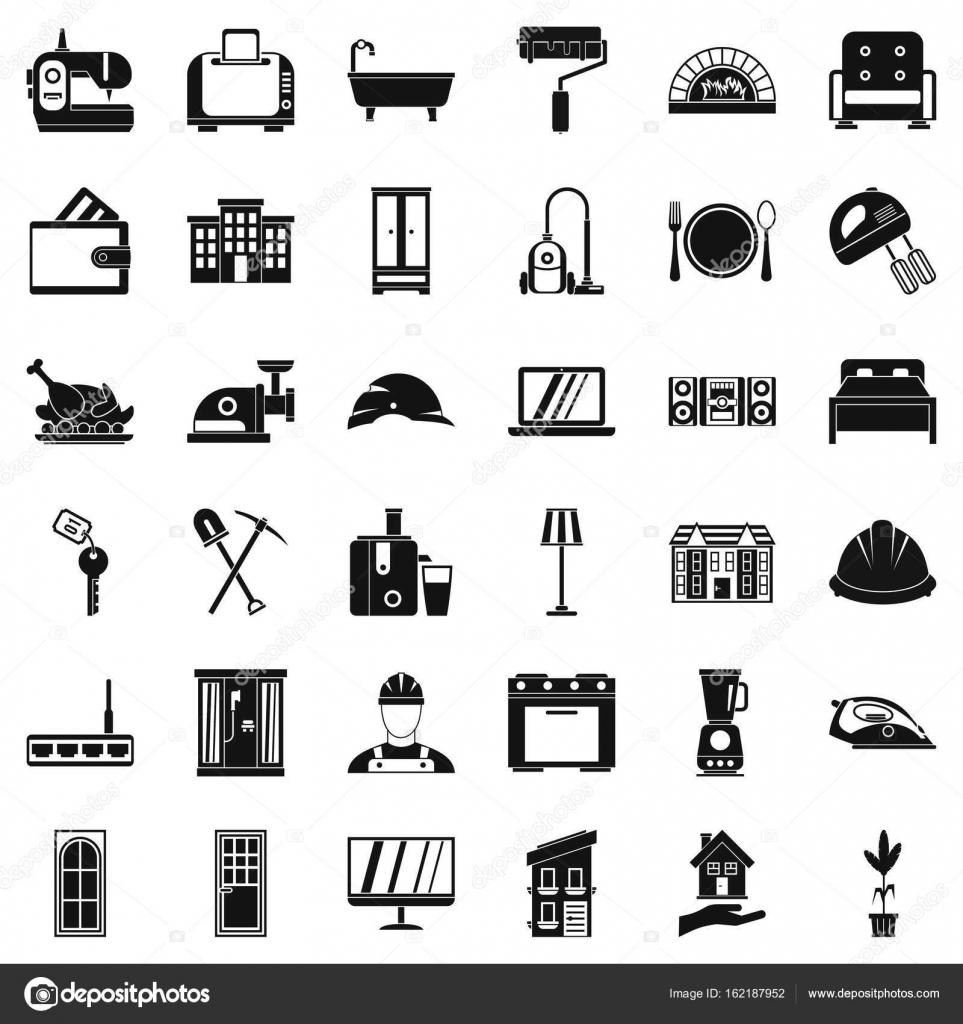 Gutes Haus Icons Set, einfachen Stil — Stockvektor © ylivdesign ...