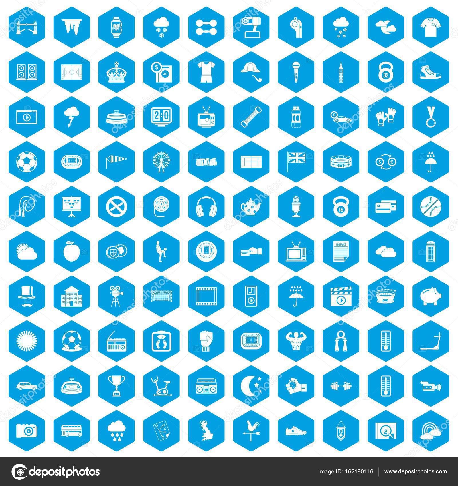100 Fussball Icons Set Blau Stockvektor C Ylivdesign 162190116