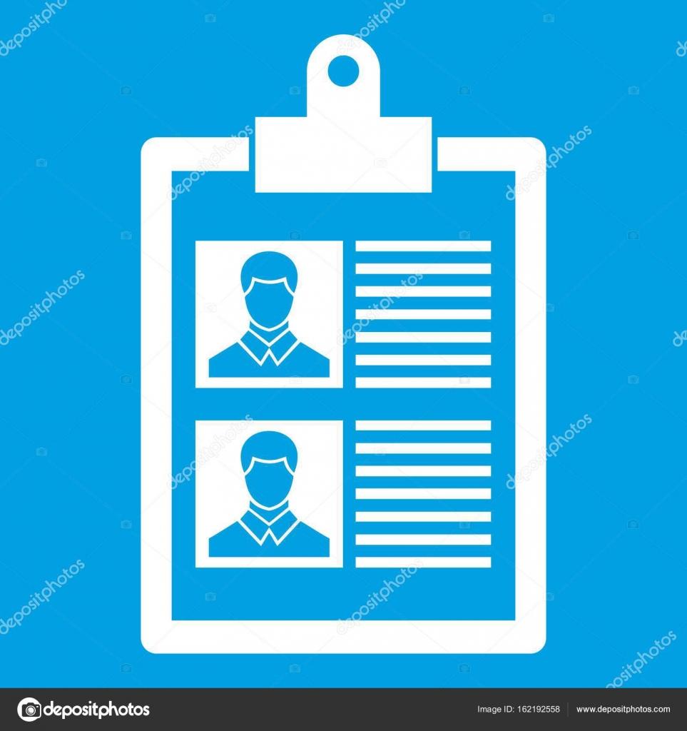 Reanudar de dos icono de candidatos blanco — Vector de stock ...