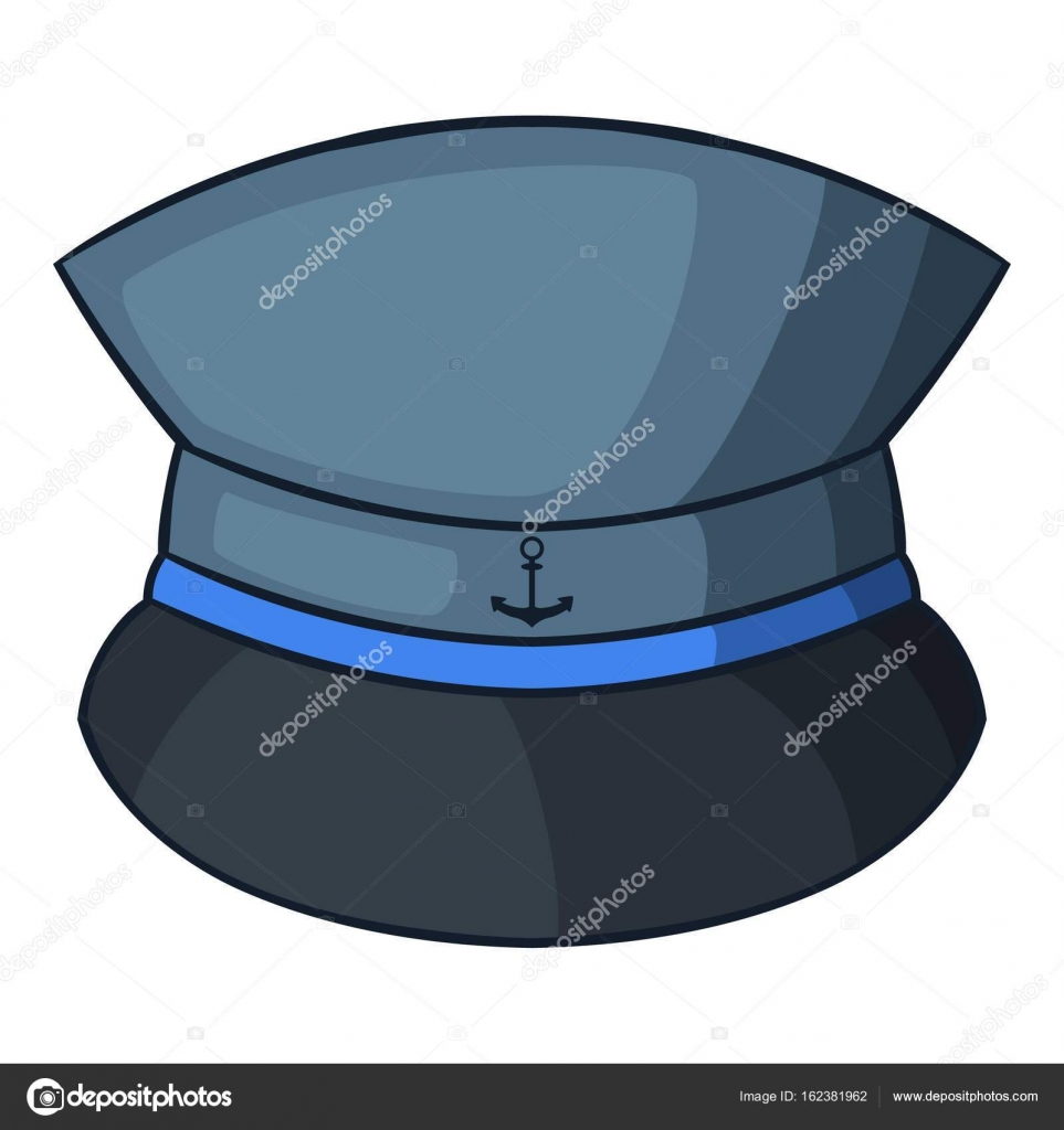 Icono del sombrero de capitán, estilo de dibujos animados — Archivo ...