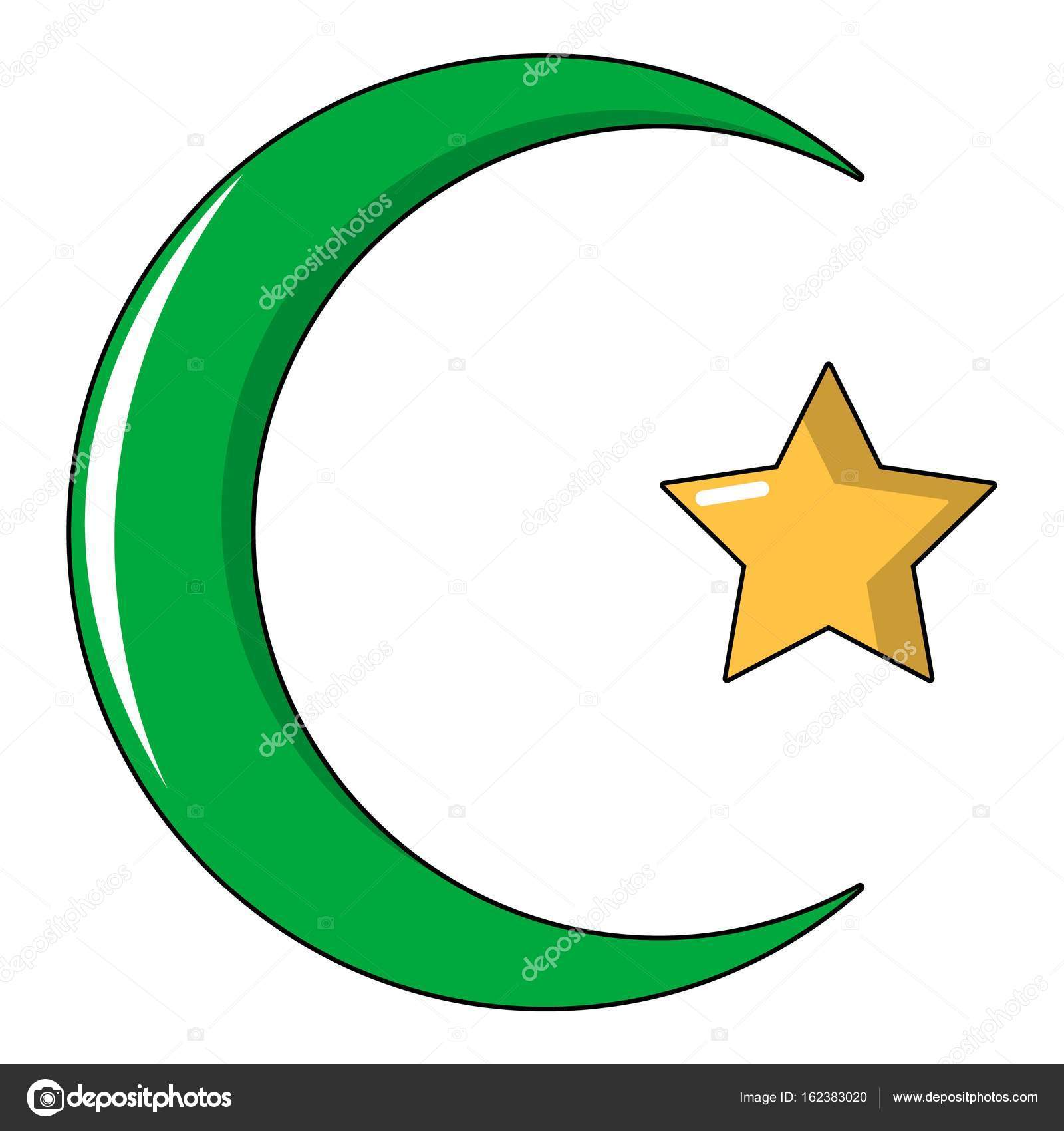 Star Crescent Symbol Of Islam Icon Cartoon Style Stock Vector