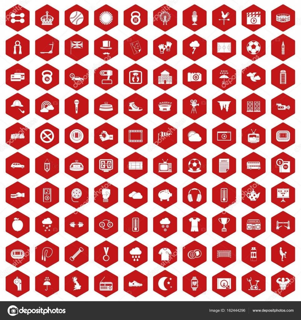 100 Fussball Symbole Sechseck Rot Stockvektor C Ylivdesign