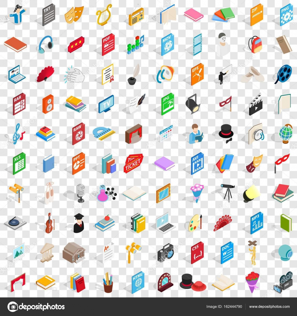 100 musical icons set, isometric 3d style — Stock Vector