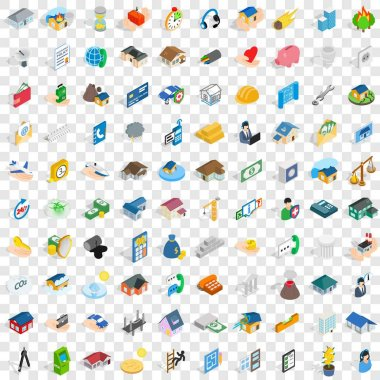 100 home repair icons set, isometric 3d style