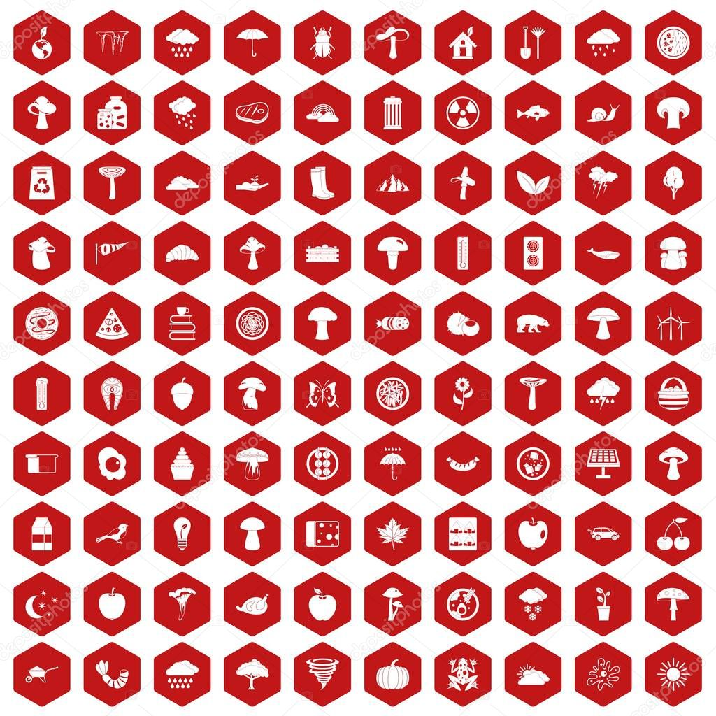 100 mushrooms icons hexagon red