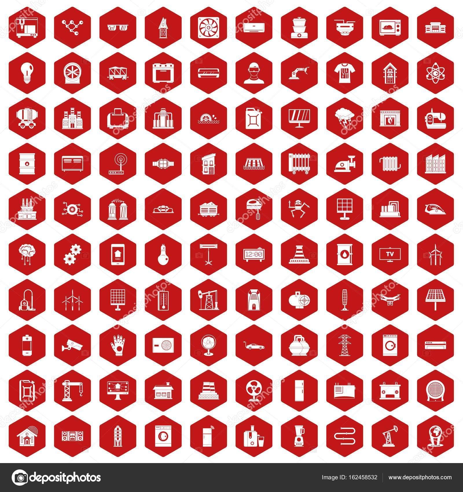 100 Elektrotechnik Symbole Sechseck rot — Stockvektor © ylivdesign ...