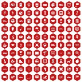 Fotografie 100 bus icons hexagon red