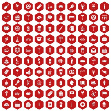 100 beer party icons hexagon red
