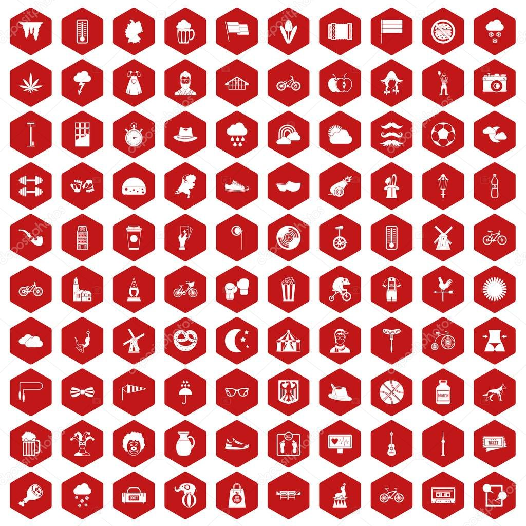 100 bicycle icons hexagon red