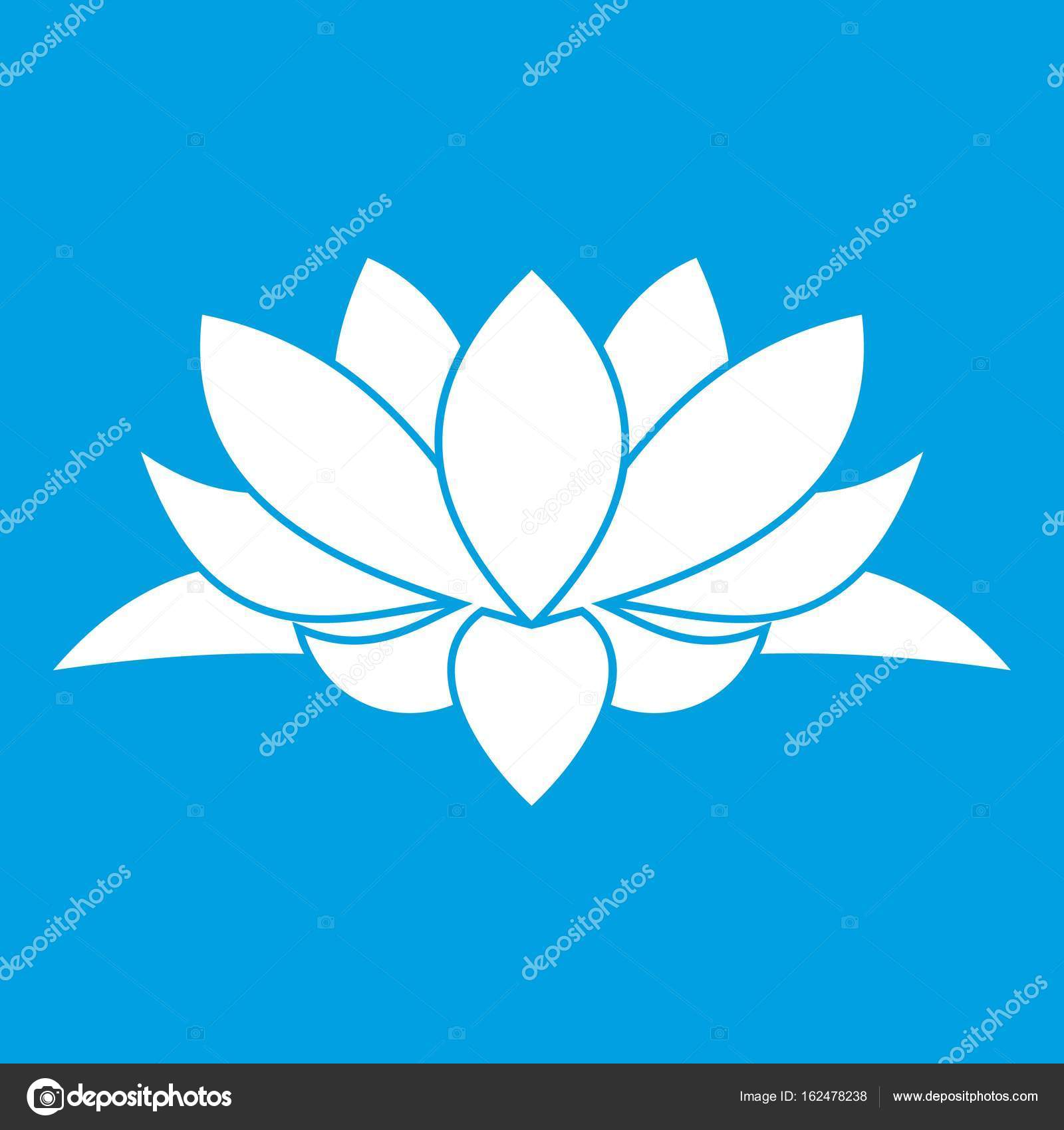 Lotus Flower Icon White Stock Vector Ylivdesign 162478238