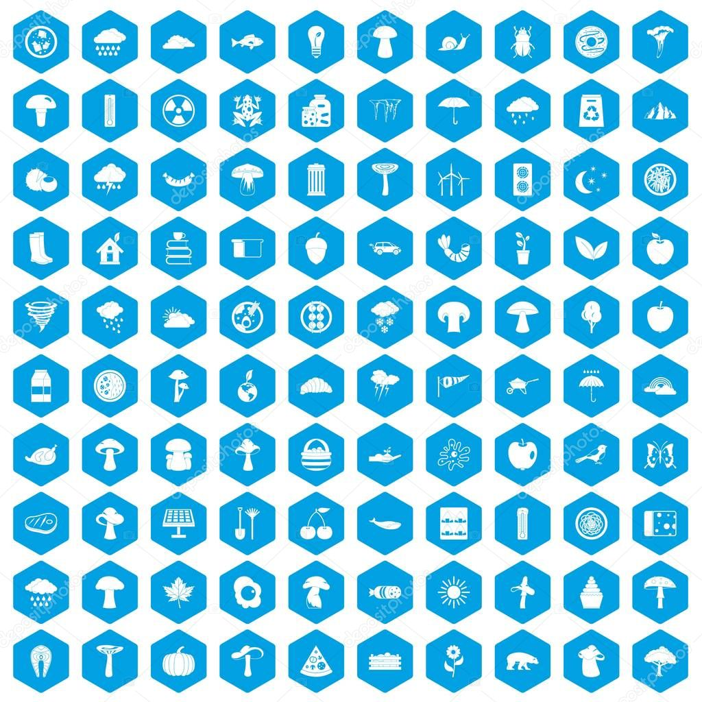 100 mushrooms icons set blue