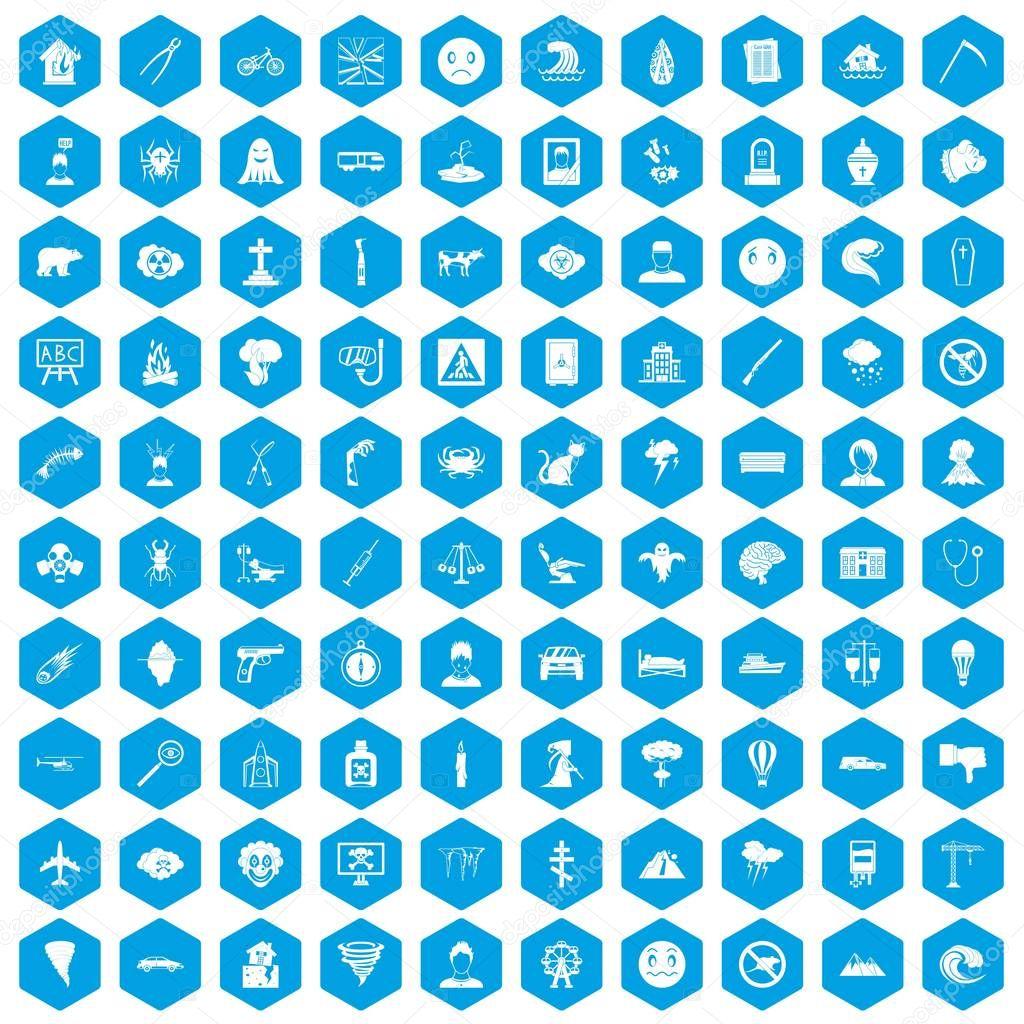 100 phobias icons set blue