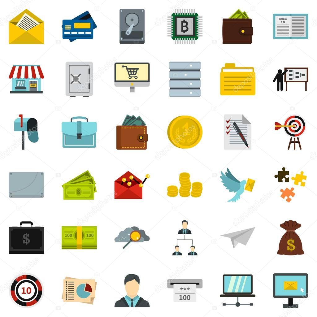 Business Vertrag Icons set, flach Stil — Stockvektor © ylivdesign ...