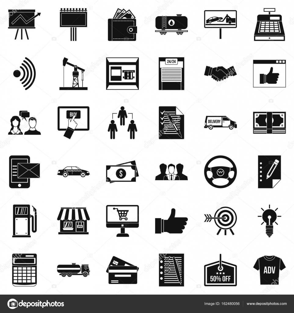 Business Vertrag Icons Sets, einfachen Stil — Stockvektor ...