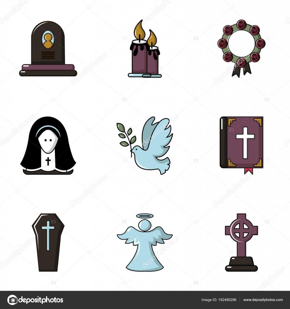 Funeraria los iconos conjunto, plano estilo — Archivo Imágenes ...