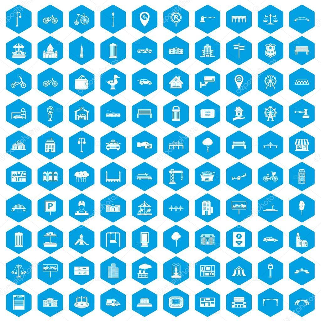 100 city icons set blue