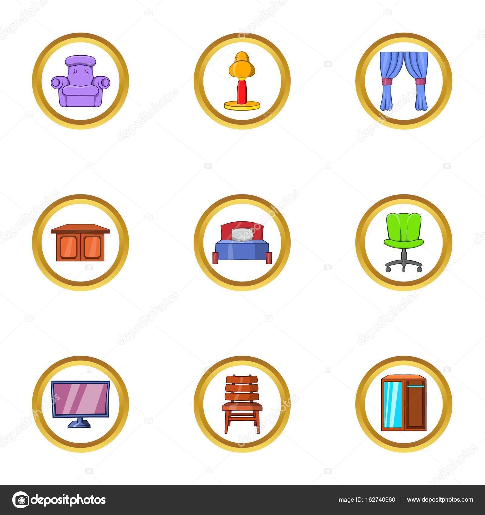 Conjunto De Iconos De Muebles De Interior Estilo De Dibujos  # Muebles Deinterior