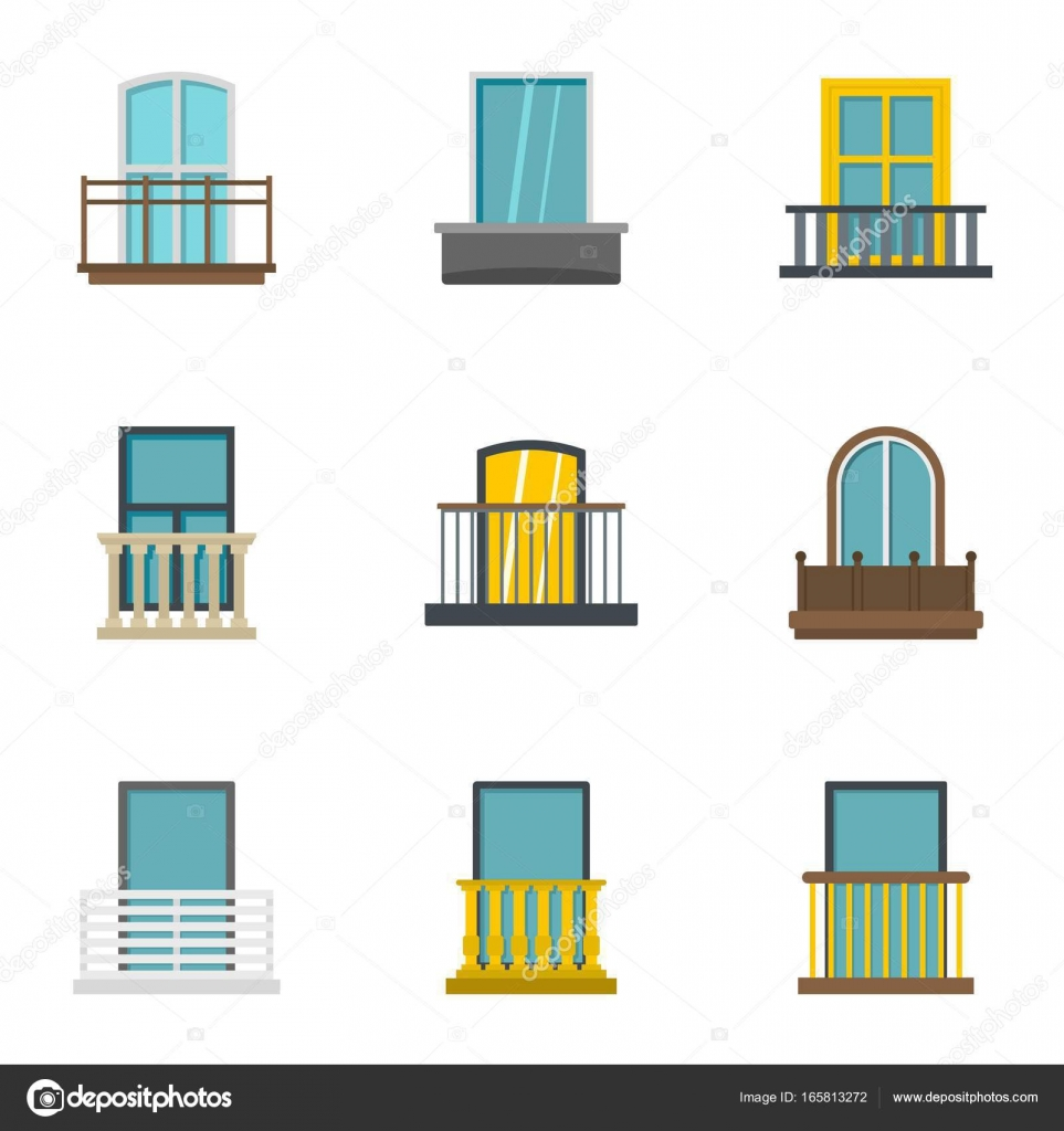 balkon-icon-set, flachen stil — stockvektor © ylivdesign #165813272