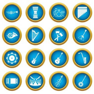 Musical instruments icons blue circle set