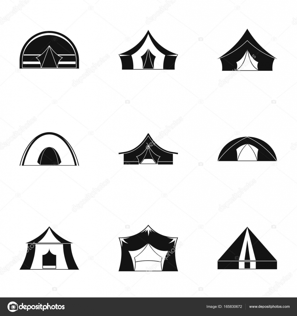 Travel tent form icon set, simple style — Stock Vector © ylivdesign