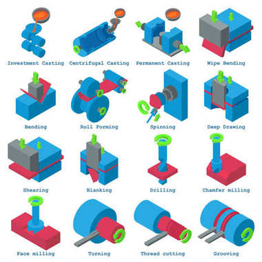 Metalwork icons set, isometric style