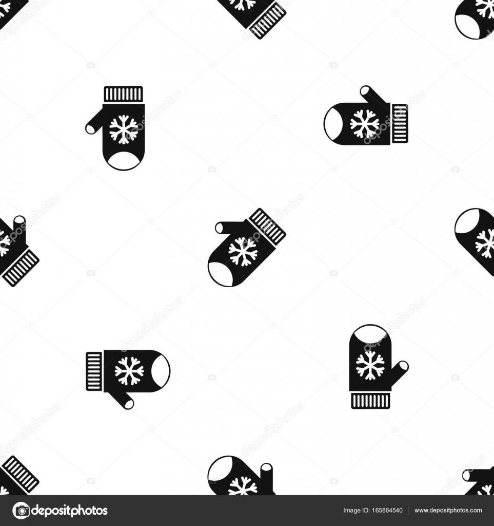 Manopla con negro sin soldadura de copo de nieve patrón — Archivo ...