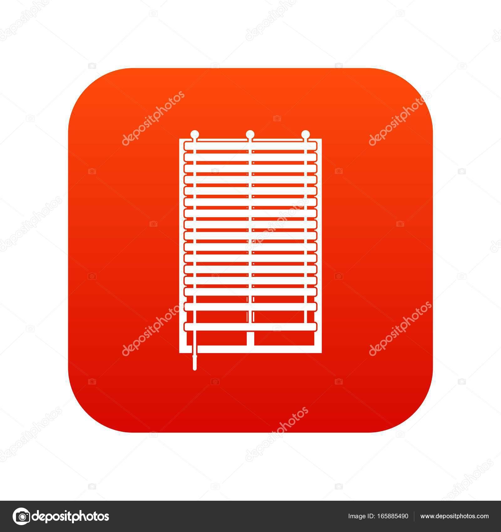 Fenêtre Avec Digital Rouge De Jalousie En Bois Icône Image