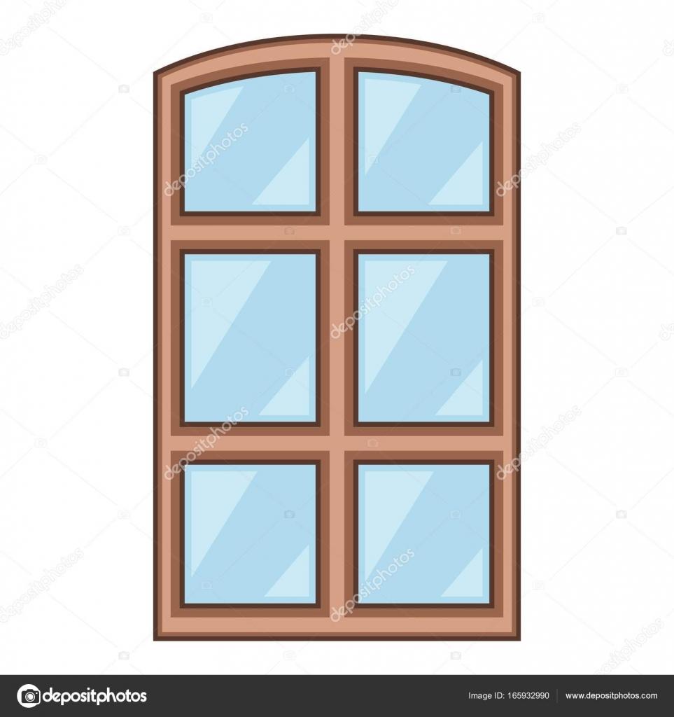 Icono de marco de ventana de madera, estilo de dibujos animados ...