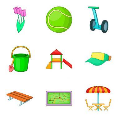 Outdoor park activities icon set, cartoon style