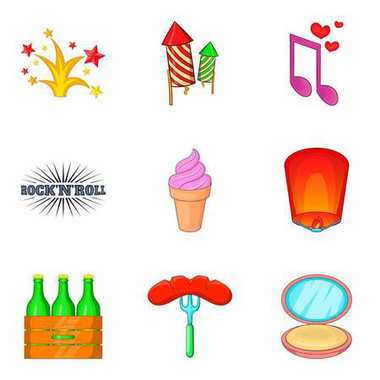 Firework party icon set, cartoon style