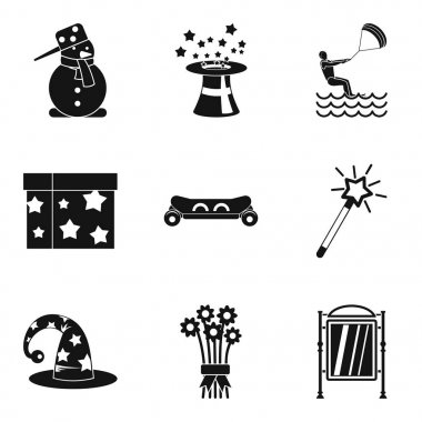 Magic icons set, simple style