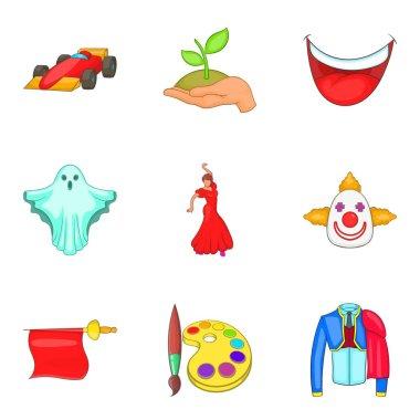 Dancing icons set, cartoon style