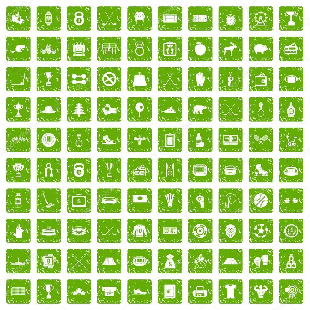 100 hockey icons set grunge green