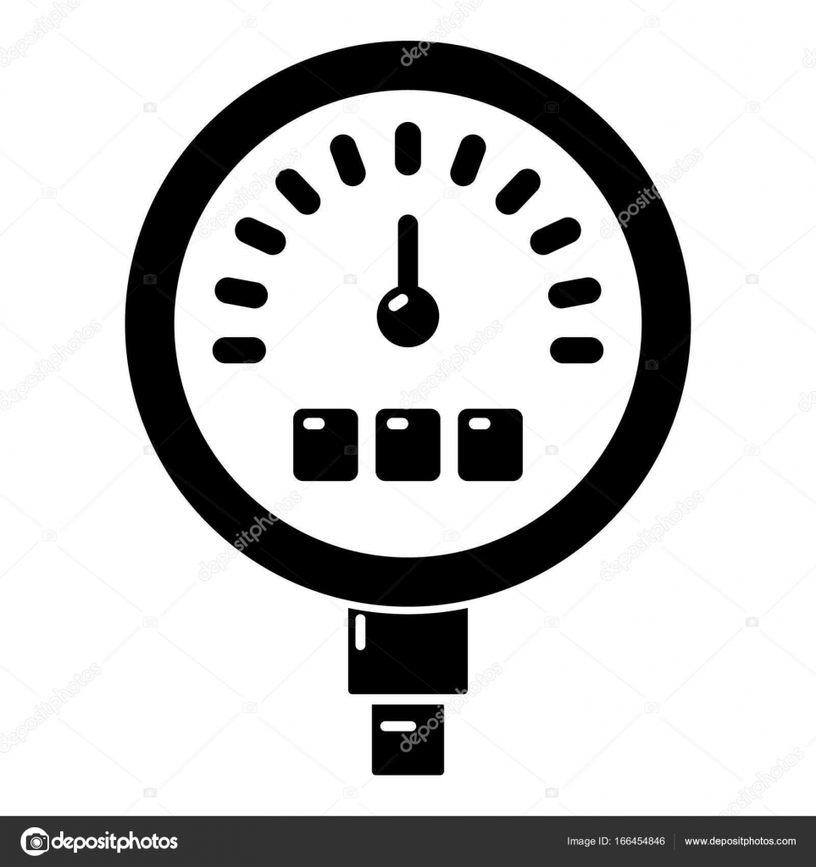 Druck Messgerät Symbol, einfache Blackstyle — Stockvektor ...
