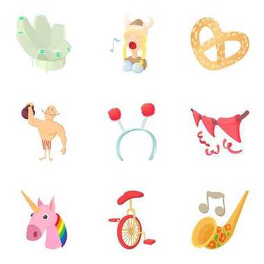 Song icons set, cartoon style