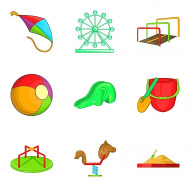 Ferris wheel icons set, cartoon style