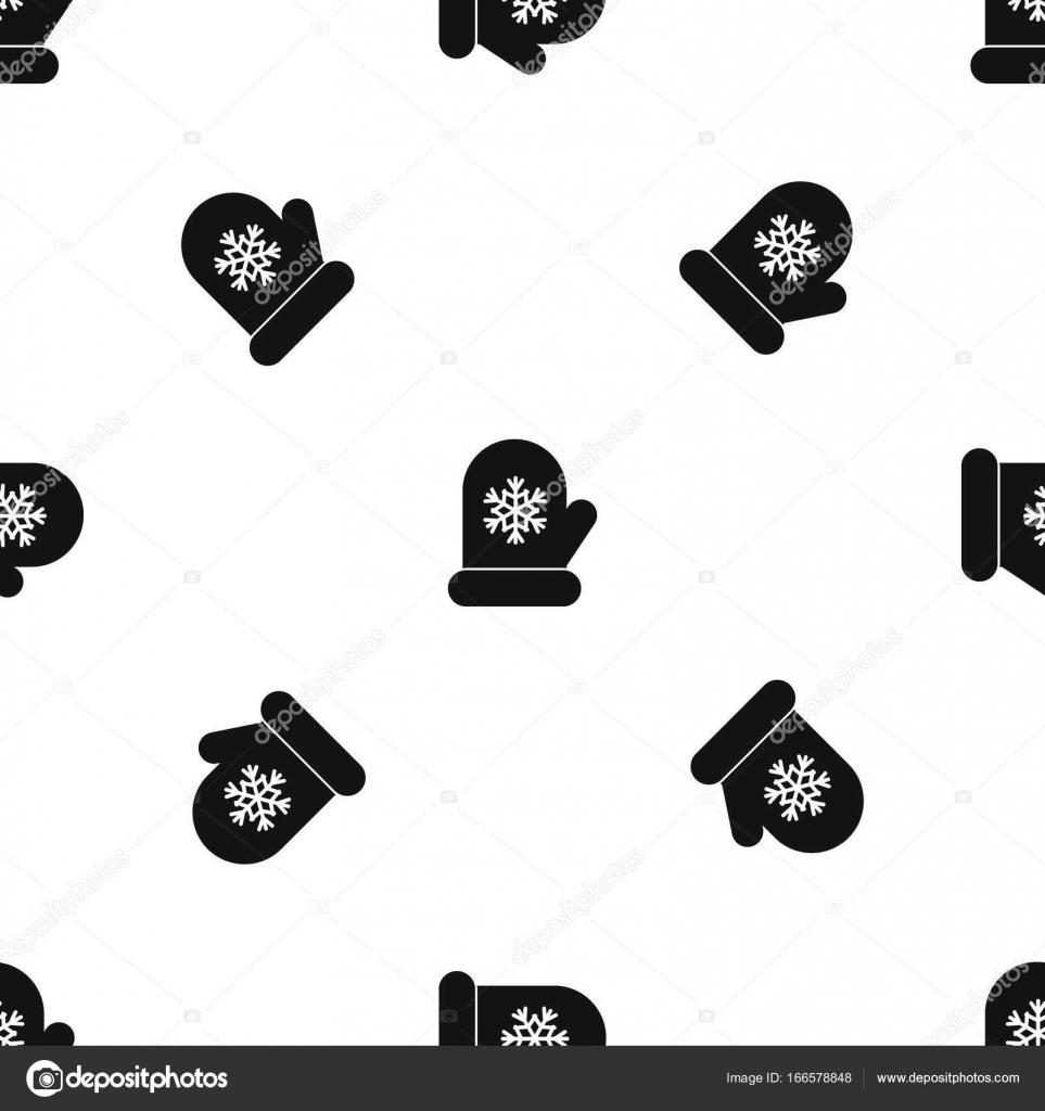 Manopla con negro sin costura de blanco copo de nieve patrón ...